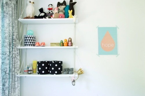 Nursery 5 ikea shelves